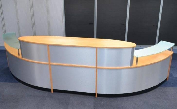 Beech Veneer Silver Modern Large Reception Desk