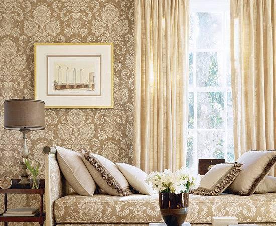 Beige Damask Living Room