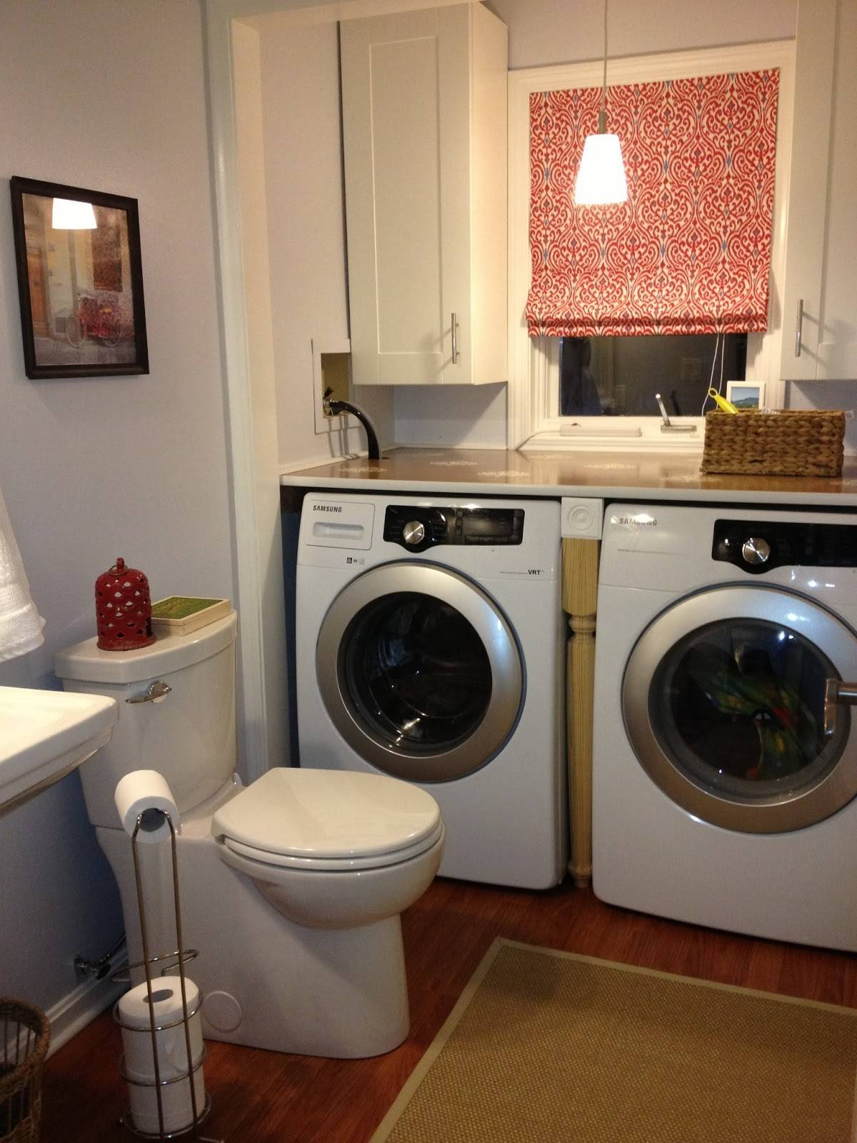 Beige House Laundry Powder Room Renovation