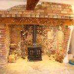 Beige Orange Fireplace Inglenook
