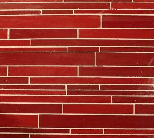 Beltile Red Glass Brick Mosaic Mixed Tile Stone