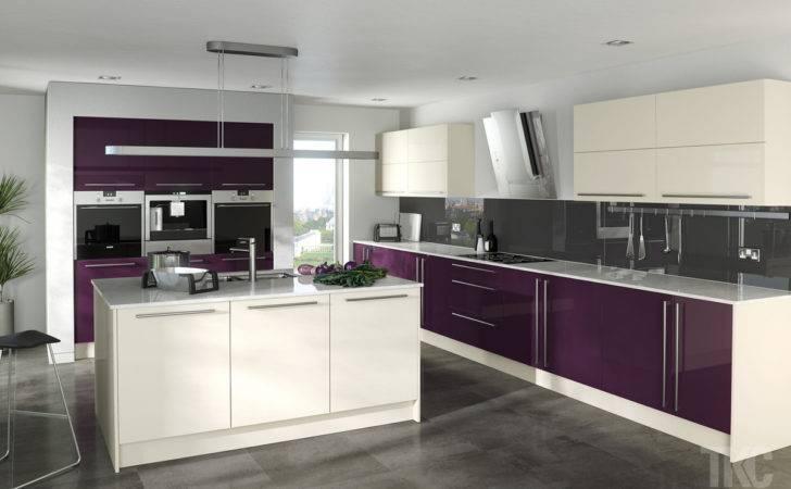 Best Idea Purple Modular Kitchen Cream Painting Wall