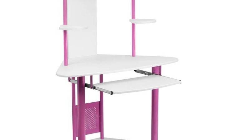 Best Pink Corner Computer Writing Desk Hutch Table Office Laptop Kids
