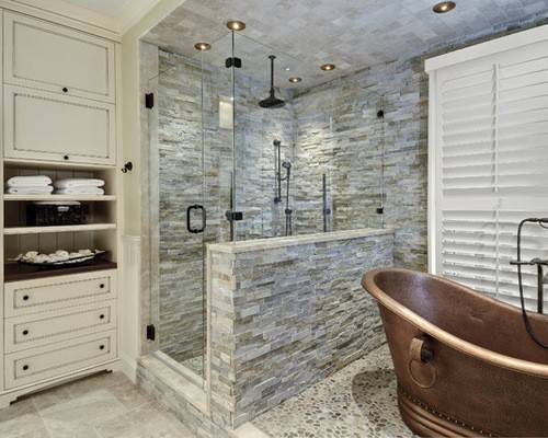 Best Stacked Stone Shower Design Ideas Remodel Houzz