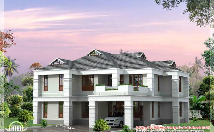 Bhk Sloping Roof House Design
