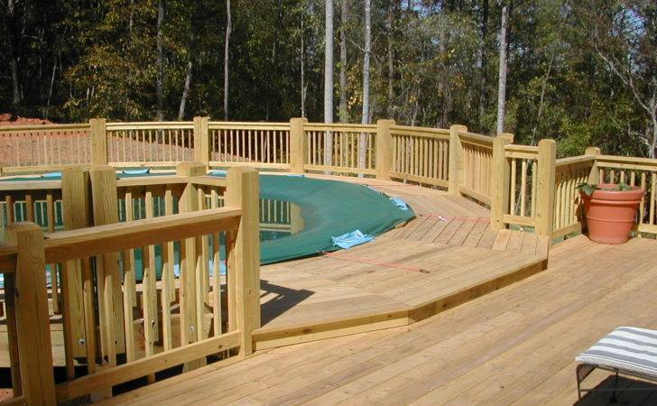 Big Above Ground Pool Decks Lounge Wood Deck Fence