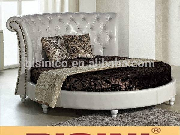 Big Leather Round Bed King Bedroom Set Furniture