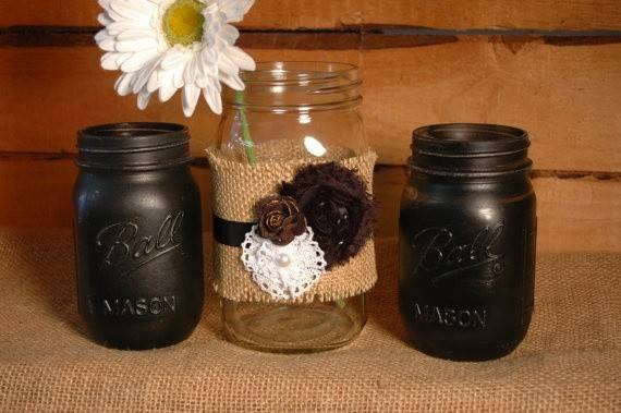 Black Beautiful Set Mason Jars Pineknobsandcrickets