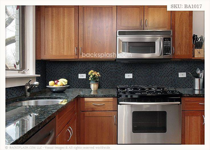 Black Countertops Backsplash Granite Glass Tile Mixed