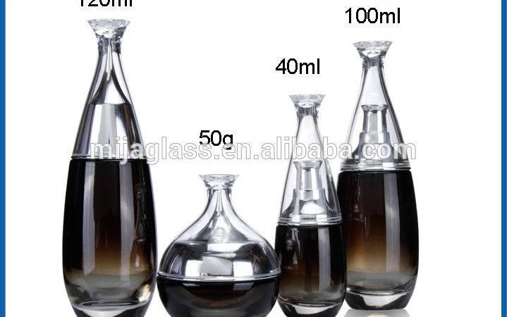 Black Empty Round Glass Cosmetic Bottles Jars Plastic Fancy