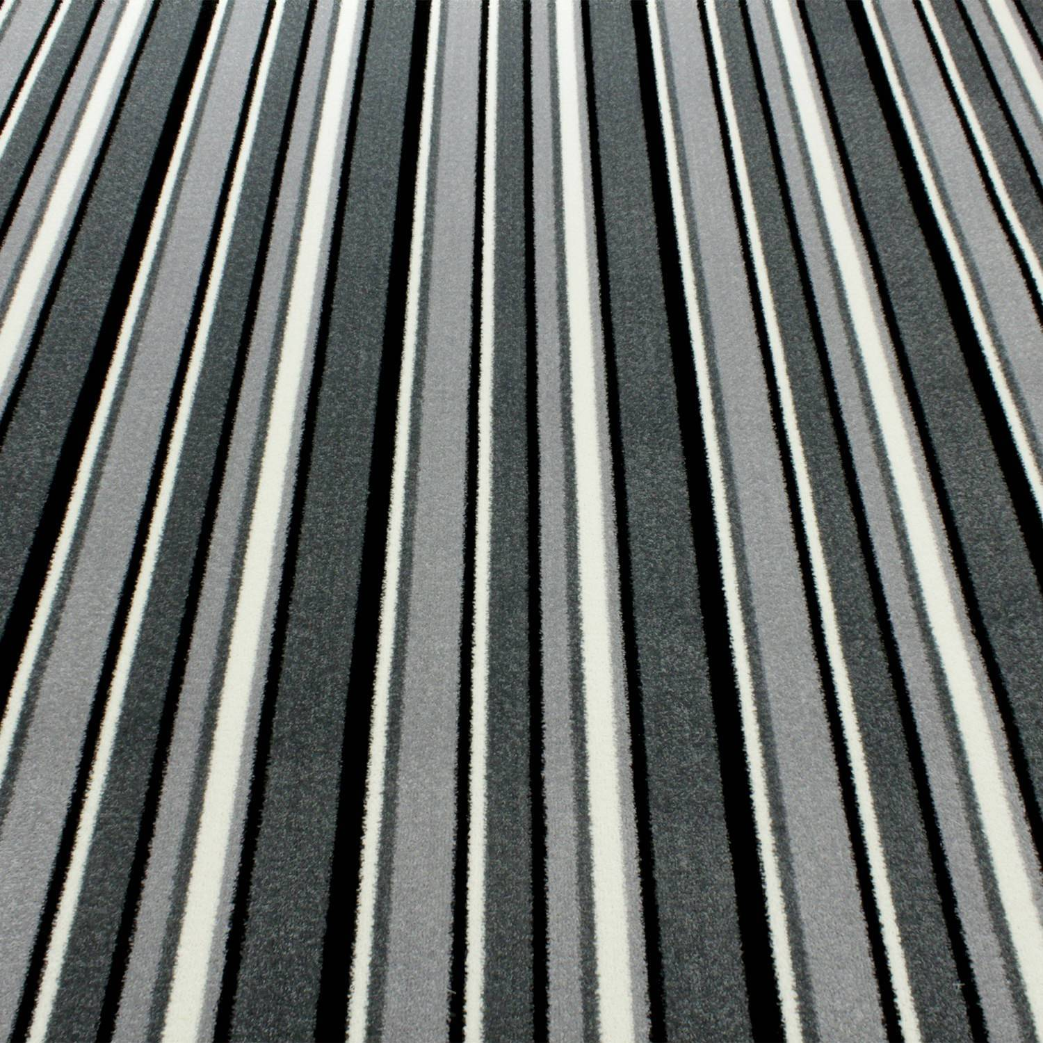 Black Grey White Striped Carpet