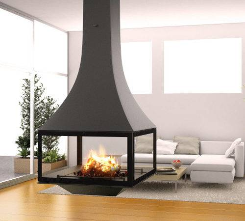 Black Line Suspended Wood Burning Stove Fireplace Products