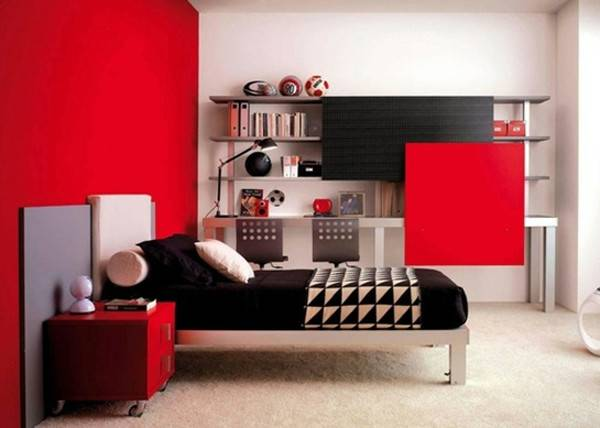 Black Office Furniture Red White Ideas