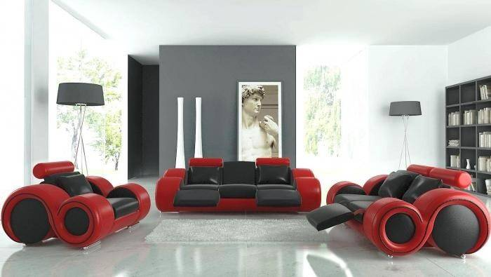 Black Red Furniture Airy Living Room White