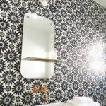 Black White Cement Tile Bathroom Cococozy