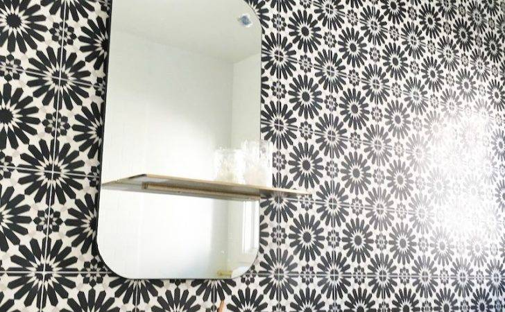 Black White Cement Tile Bathroom Cococozy