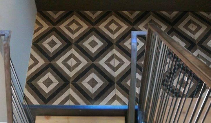 Black White Cement Tile Installation Chez Kan Pinterest