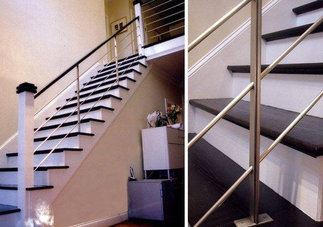 Black White Color Themes Modern Style Interior Stair Handrail