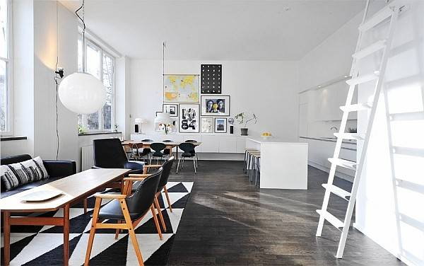Black White Contemporary Loft Open Space Living Dining Kitchen