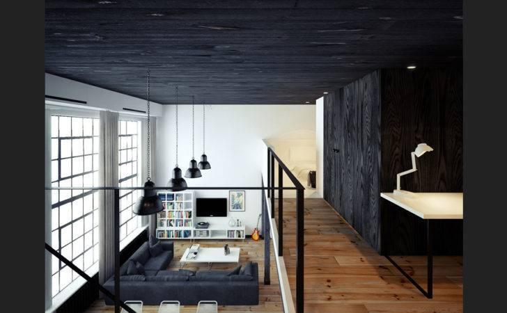 Black White Loft Living Interior Design Ideas