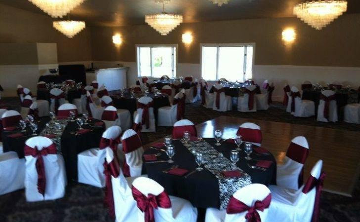Black White Silver Wedding Table Cloths Burgundy