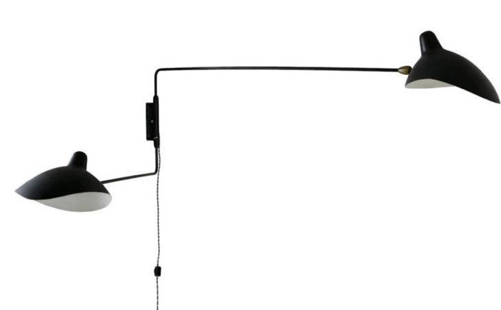 Black White Yellow Serge Mouille Two Arm Wall Lamp
