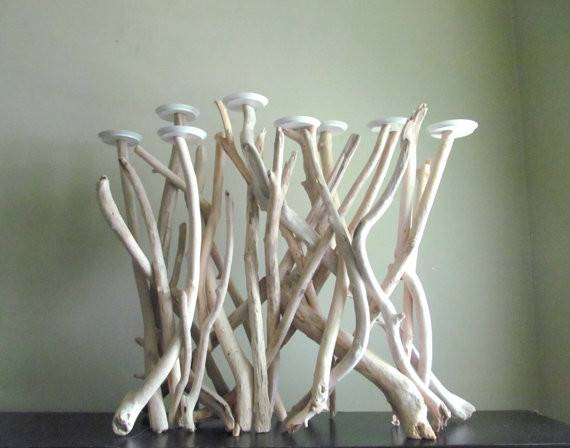 Bleached Driftwood Eight Pillar Plate Candelabra Fireplace