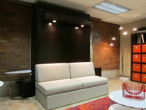 Bloombety Murphy Bed Sofa Brick Walls