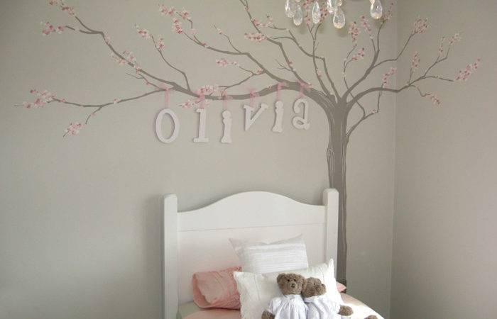 Blossom Tree Davidsons Homes Hand Painted Little Girls Room Mural Name