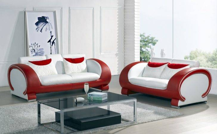 Blossom White Red Top Graded Real Leather Sofa