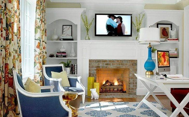 Blue Accents Give Home Office Fresh Modern Look Design Hip