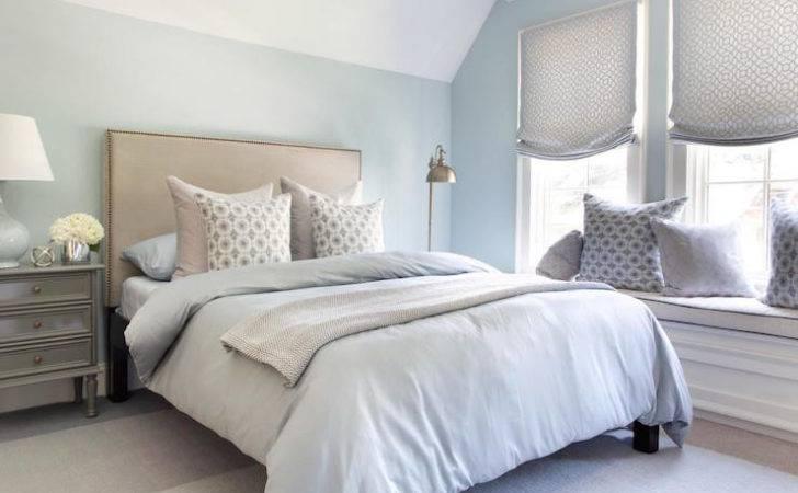Blue Bedroom Gray Nightstand Bedding Bed