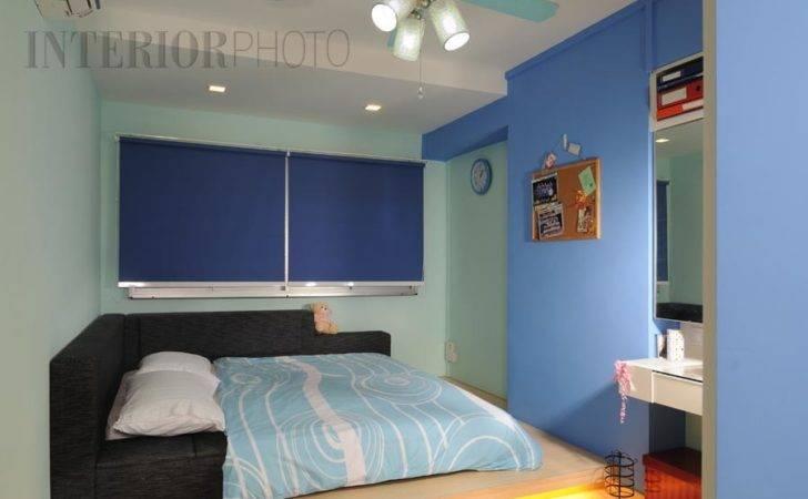 Blue Colour Bedroom Platform Bed