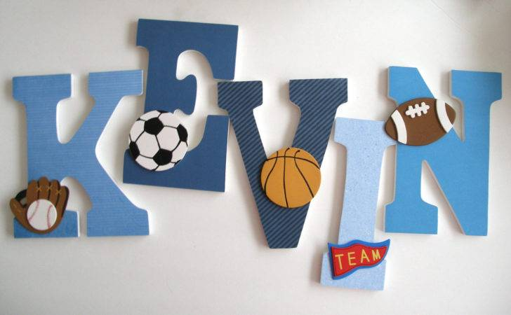 Blue Custom Decorated Wooden Letters Personalized Letterluxe
