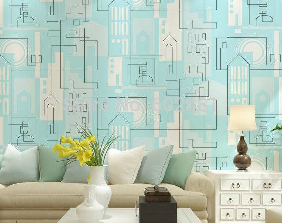 Blue Geometric Drawing Wall Paper Home Bedroom Kids Room