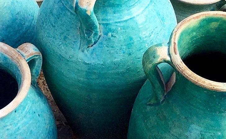 Blue Glazed Hand Made Terracotta Vases Pots Handmade