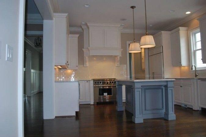 Blue Glazed Island White Cabinets Painted Kitchen