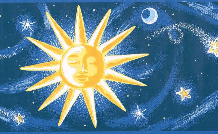 Blue Gold Stars Sun Moon Embossed Border Wall