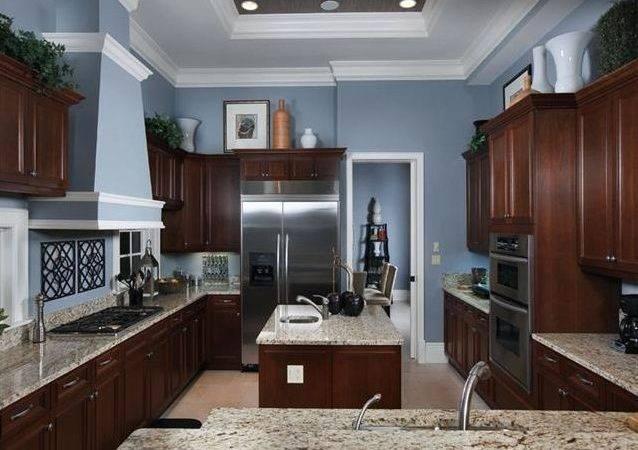 Blue Gray Kitchen Dark Cabinets Grey Oaks Naples Florida