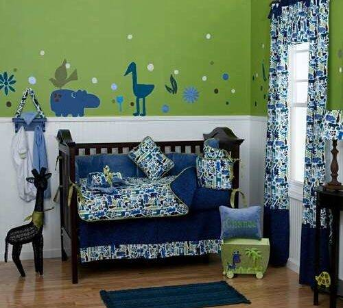 Blue Green Bold Animal Printed Baby Crib Bedding Add