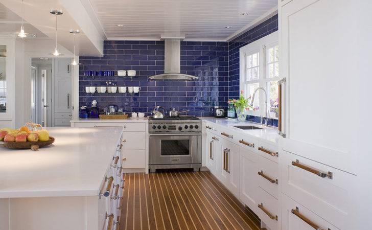 Blue Kitchen Backsplash Beautiful Homes Design Tile
