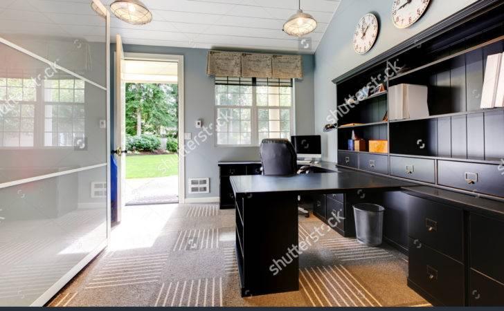 Blue Modern Home Office Interior Design Dark Brown Furniture