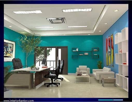 Blue Monochrome Color Applications Modern Office Interior