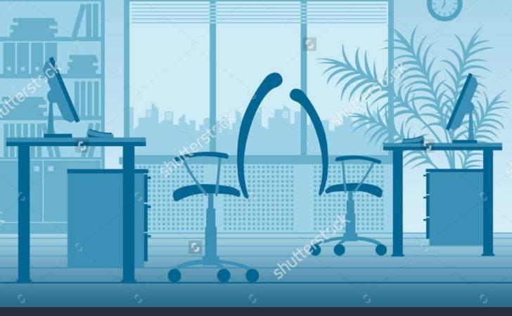 Blue Office Interior Vector Illustration