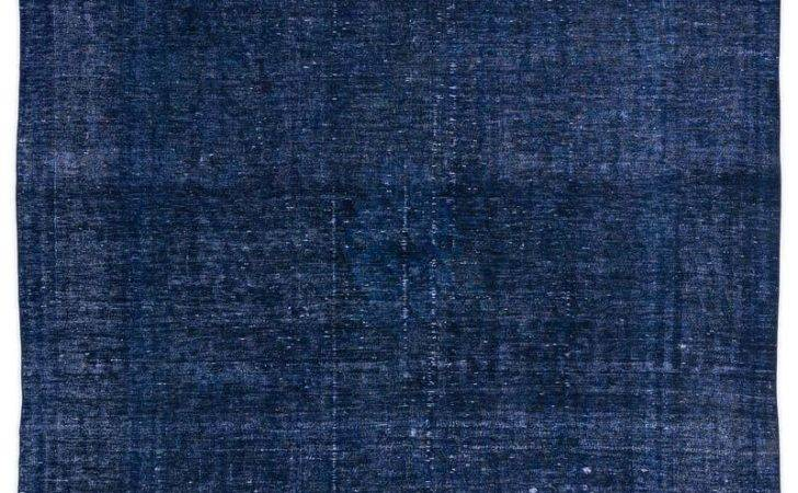 Blue Over Dyed Persian Vintage Rug Kilim Rugs Overdyed