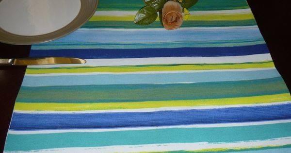 Blue Stripe Table Runner Funky Retro Designer Cotton