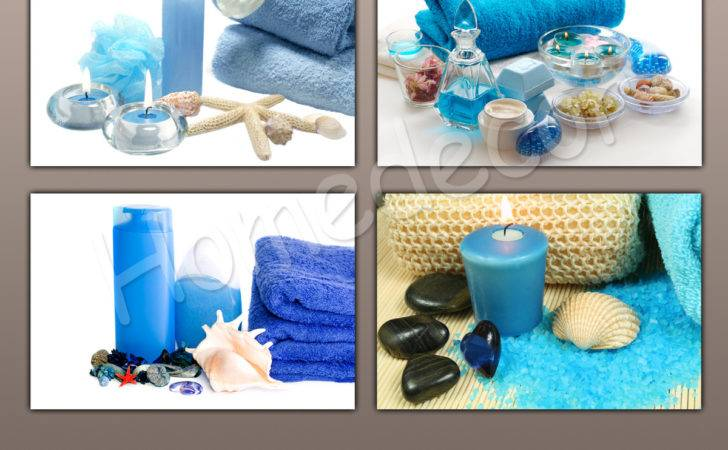 Blue Style Spa Essential Oil Care Massage Stone Candle Canvas Prints