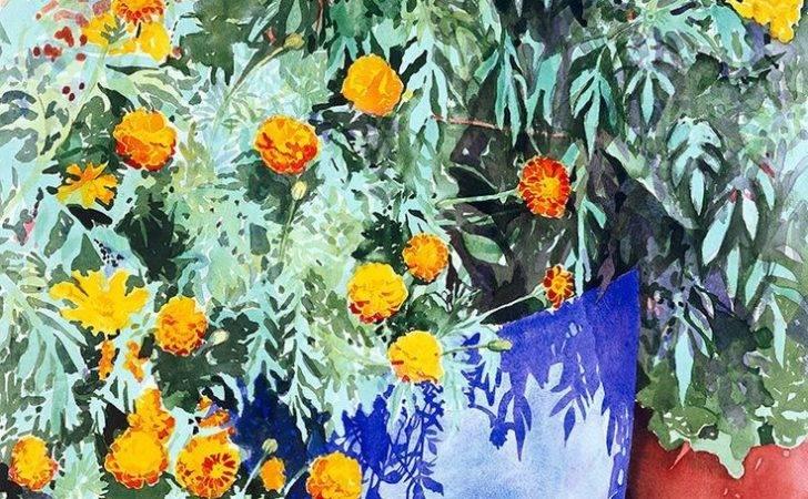 Blue Terracotta Flower Pots Yellow Orange Flowers Watercolo