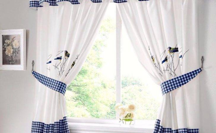 Blue Tits Bird White Kitchen Curtains Pelmet