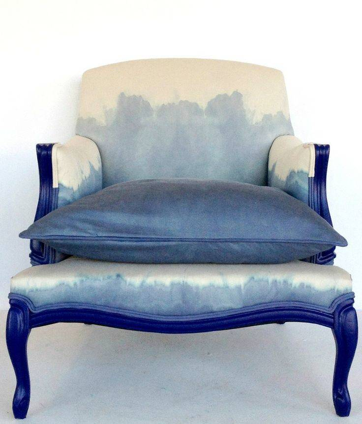 Blue White Dip Dye Upholstered Chair Restyle Studio